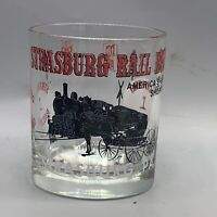 Vintage Strauss Railroad Strausburg PA Cocktail Beverage Rocks Glass Train Loco