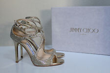 New sz 12 / 42 Jimmy Choo Lang Strappy Gold Glitter Ankle Cage Sandals Shoes