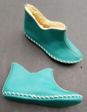 Sheepwool lined leather slippers Size 4 pixie elf blue booties house shoes