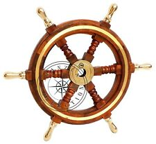 "Vintage Style 18"" Brass & Wood Ship Wheel Helm Nautical Home Decor Boat Steering"