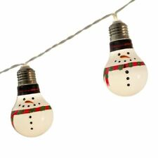 New Set 10 LED Xmas Snowman Bulb String Lights Christmas Lights Battery 2xAA