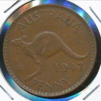 Australia, 1947(m) One Penny, 1d, George VI - Very Fine