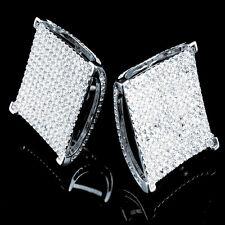 BIG CUBE SQUARE BLOCK STUD EARRING MEN'S 14K WHITE GOLD FINISH LAB SIMU DIAMOND