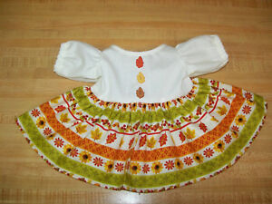 """AUTUMN FALL LEAF LEAVES FLOWERS DRESS W/ LEAF BUTTONS for 16"""" CPK Cabbage Patch"""