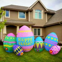 8 FT EASTER BUNNY EGGS AIRBLOWN INFLATABLE LIGHTED YARD DECOR