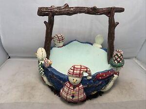 St Nicholas Square Snowmen Ceramic Basket/Candy Dish 1999