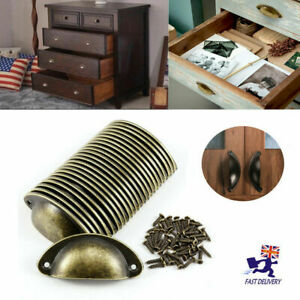 24X Cup handles Shell Pull Kitchen Cupboard Cabinet Door Furniture Drawer Knobs
