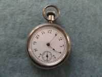 Vintage New England Watch Co. Mechanical Wind Up Pocket Watch Sterling Silver