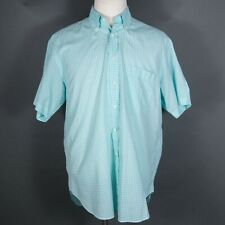 Brioni Italy Turquoise Gingham Check Short Sleeve Shirt Large