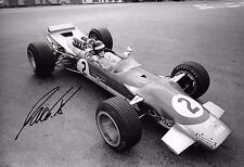 Jackie Oliver SIGNED 12x8  Lotus-Cosworth 49B , Belgium GP  Spa 1968
