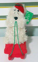 Russ Berrie Curly Dog on Xmas Sled Plush Toy w/ Swing Tag 19cm Tall!