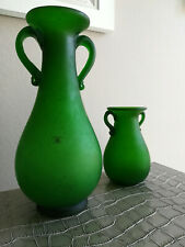 2x SHEREKAT art frosted green glass hand made vases, 28cm & 15cm