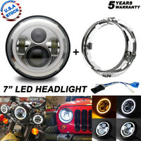 7 inch Motorcycle LED Headlight + Ring Mount Chrome for Harley Street Glide