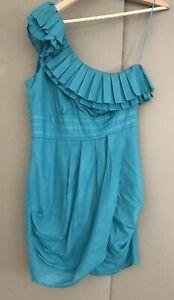 Bebe Onw Shoulder Dress Size M To Fit Size 8 . Green Dress