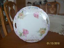 K & L Germany Porcelain China Double Handled Vintage Floral Rose Cake Plate