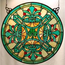 "Shamrock Round Stained Glass Window 18"" Diameter Free Ship"