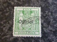 NEW ZEALAND POSTAGE STAMP DUTY OFFICIAL SG0119 5/- GREEN SUPERB USED
