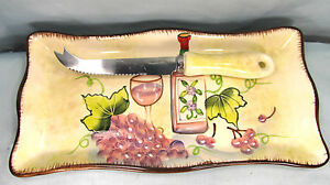 Cheese serving ceramic tray and cutter wine and grapes pattern kitchen ware
