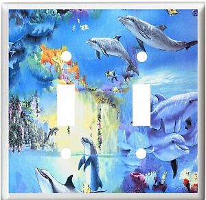 PLAYFUL DOLPHINS TROPICAL FISH  # 10 IMAGE  LIGHT SWITCH COVER PLATE U PICK SIZE