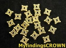 250PCS Antiqued gold beaded square spacer beads 6mm FC147