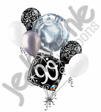 7 pc 90th Elegant Happy Birthday Sparkles Balloon Bouquet Black Damask Silver