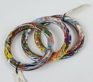 3 Sobral Pollock Swirled Multi Color Skinny Flat PML06 Bracelets Brazil Import