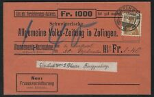 1912 Switzerland Insurance Advertising Postcard - Zofingen to Ringgenberg