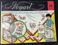 Vogart 646 Vintage Hand Embroidery Transfer Pattern Roosters - Original Uncut
