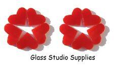 10 coupe pré 2cm Red Opal cœurs pour fondus ou vitraux (pcho2)