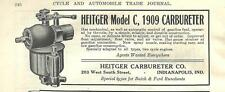 1909 Heitger Model C Carburetor Ad/Indianapolis