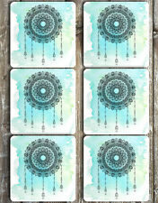 Watercolour Mandala Dream Catcher Neoprene Drink Coasters Set of 6
