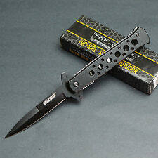 "7 1/4"" Assisted Opening Stiletto Black Aluminum Handle Linerlock Tactical Knife"