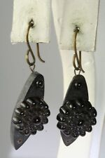 VICTORIAN ANTIQUE WHITBY JET AND GLASS DANGLING EARRINGS