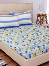Beige & Azul Estampado Flores Plano 1 Cama Doble Hoja Con 2 Fundas de Almohada