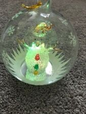 "Sorelle Vintage 7"" Hand Blown Christmas Globe Snowman Ornament Colored Lights"