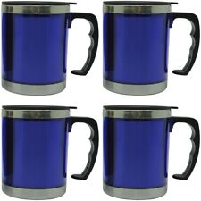 4x Thermo Mug 450ml Stainless Steel Insulated Mug Car Mug Drinking Cup Mug Blue