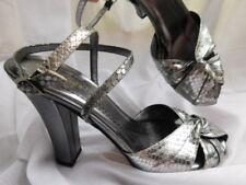 b5eb314299ab KATE SPADE New York SILVER PEWTER retro PLATFORM HEELS shoes ANKLE STRAP 6  6.5