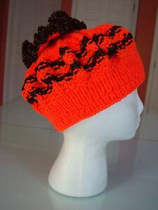 Hand-Knitted Girl's Hat, Girl's 6-8 years, Bright Orange & Metalic Brown, New