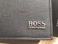 HUGO BOSS '50305581' 'MESUL' TRI FOLD BLACK LEATHER NOTE COIN WALLET