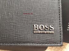 Hugo Boss 50305581 'Mesul' Tri Fold Black Calfskin Leather Note Coin Wallet