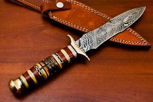 Rody Stan HAND FORGED DAMASCUS ART DAGGER KNIFE - BRASS GUARD - AS-6751