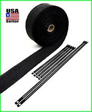 "BLACK ROLL EXHAUST HEADER WRAP PIPE INSULATION 2"" X 50 FEET W/ BLACK LOCK TIES"