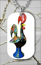 PORTUGUESE LUCKY BARCELOS ROOSTER DOG TAG NECKLACE PENDANT FREE CHAIN -nmr4Z