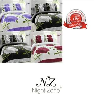 Luxury Teddy Bear Fleece Floral Duvet Cover Ultra Soft Warm Cosy Bedding Set