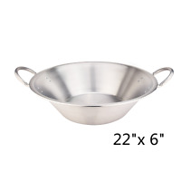 "22"" Mexican Para CaRnitas Cazo Stainless Steel Comal Inoxidable Wok Cookware"