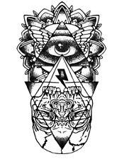 Large Waterproof Totem Eye of God Skull Mayan Temporary Tattoo