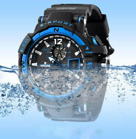 Luxury Men's Waterproof Sport Analog MIlitary Silicone Digital LED Wrist Watch