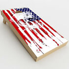 Skin Decal for Cornhole Game Board Bag Toss 2xpcs. / U.S.A. Flag Skull Drip