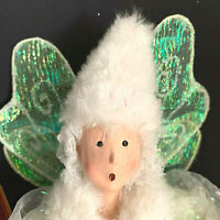 """Winward Christmas Holiday Pixie Fairy Elf 12"""" Doll White Green Wings"""