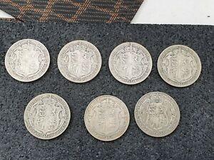 7 x  King Geroge V Silver Half Crowns  Nice Grades 1916/17/18/20/21 X 2/25